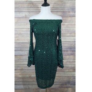 Bebe sequin green dress off the shoulder 8